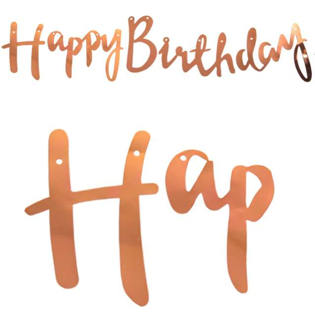"""Girlanda """"Happy Birthday"""", różowo-złoty, Czakos, 200 cm"""
