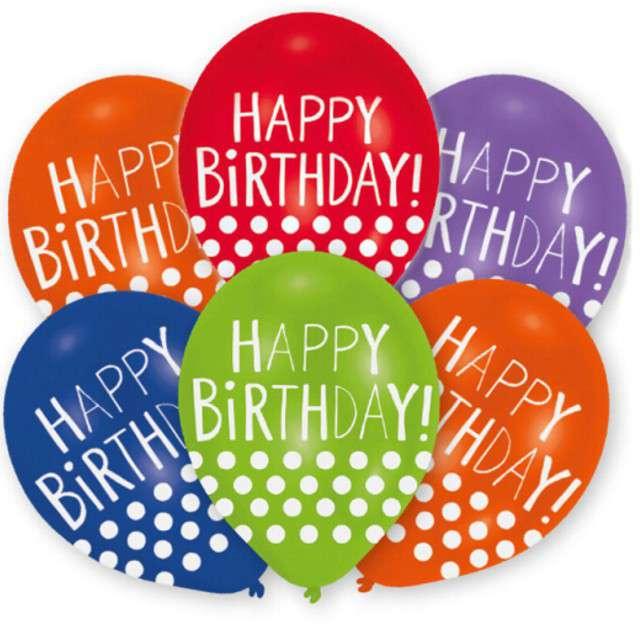 "Balony ""Happy Birthday - Kropki"", mix, Amscan, 11"", 6 szt"