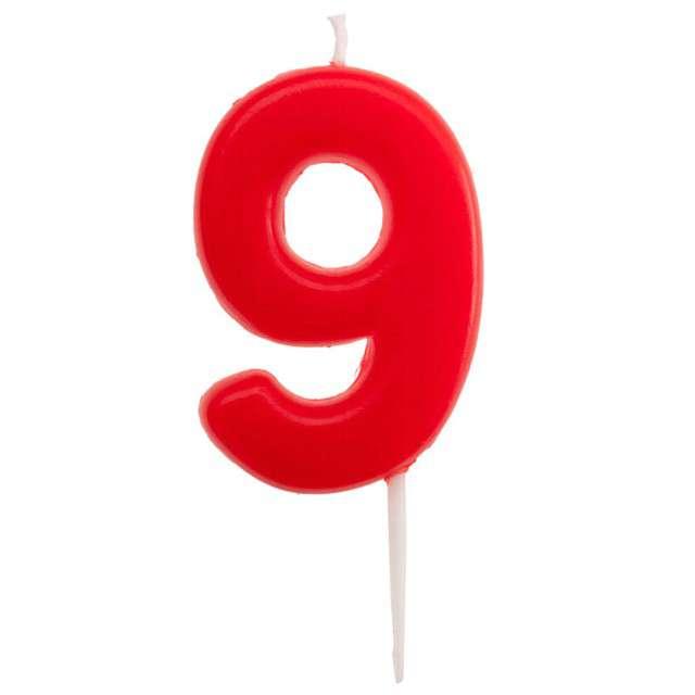 """Świeczka na tort """"Cyfra 9 - Glober"""" czerwona, Dekora, 5,5 cm"""