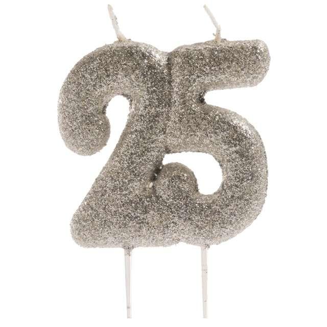 """Świeczka na tort """"Liczba 25"""", srebrna, Dekora, 8 cm"""