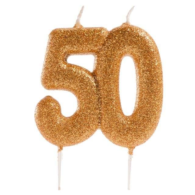 """Świeczka na tort """"Liczba 50"""", złota, Dekora, 8 cm"""
