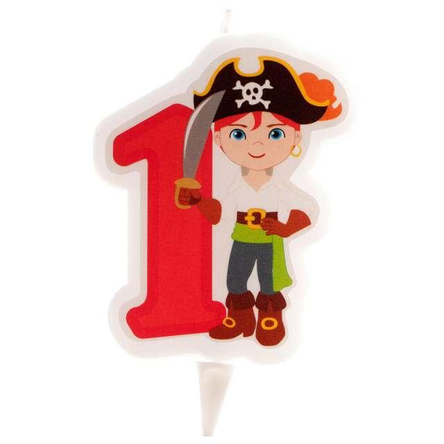 """Świeczka na tort """"Cyfra 1 - Pirat"""", czerwona, Dekora"""