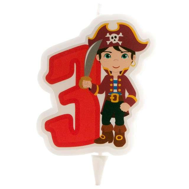 """Świeczka na tort """"Cyfra 3 - Pirat"""", czerwona, Dekora"""