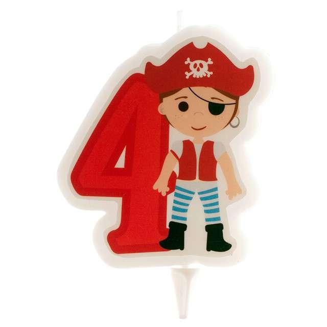 """Świeczka na tort """"Cyfra 4 - Pirat"""", czerwona, Dekora"""