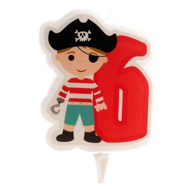 """Świeczka na tort """"Cyfra 6 - Pirat"""", czerwona, Dekora"""