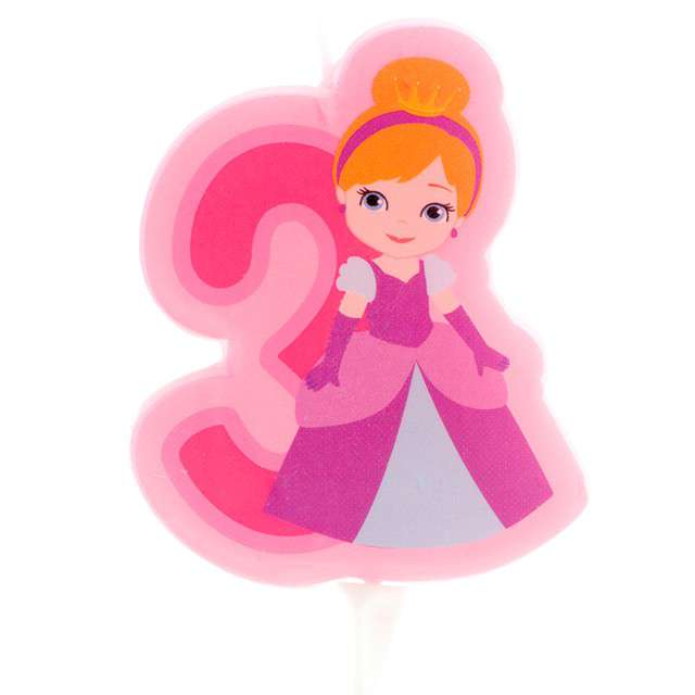 """Świeczka na tort """"Cyfra 3 - Księżniczka"""", różowa, Dekora"""