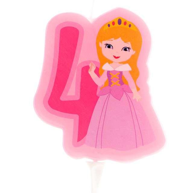 """Świeczka na tort """"Cyfra 4 - Księżniczka"""", różowa, Dekora"""