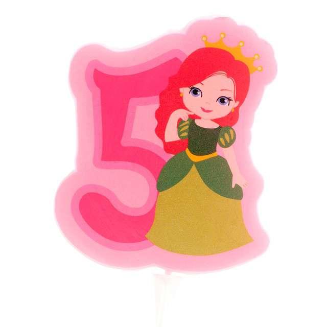 """Świeczka na tort """"Cyfra 5 - Księżniczka"""", różowa, Dekora"""