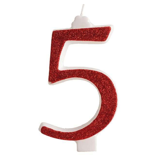 """Świeczka na tort """"Cyfra 5"""", czerwona brokatowa, Dekora"""