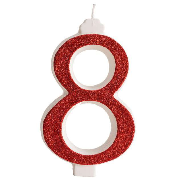 """Świeczka na tort """"Cyfra 8"""", czerwona brokatowa, Dekora"""