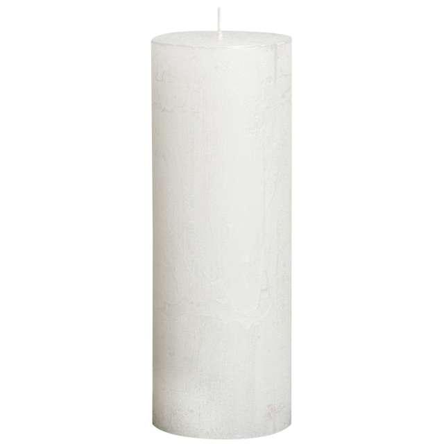 """Świeca pieńkowa """"Rustic Metallic"""", biała, Bolsius, 190/68 mm"""
