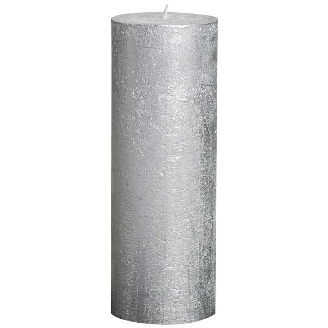 """Świeca pieńkowa """"Rustic Metallic"""", srebrna, Bolsius, 190/68 mm"""