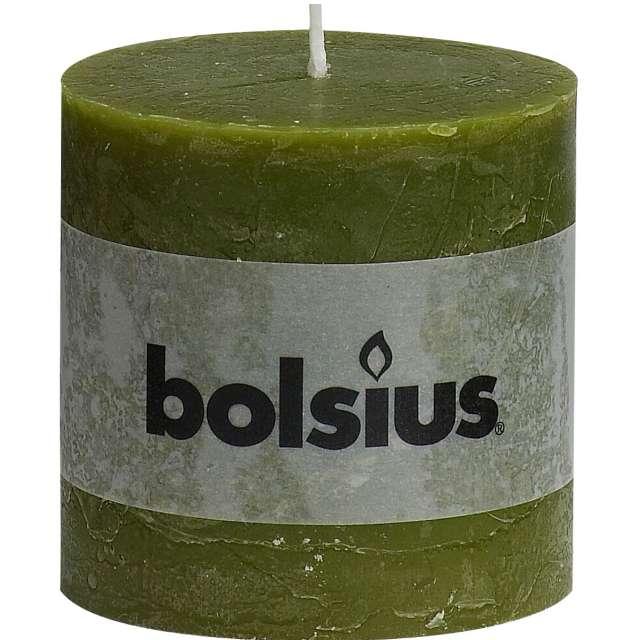 "Świeca pieńkowa ""Rustic"", oliwkowa, Bolsius, 100/100 mm"
