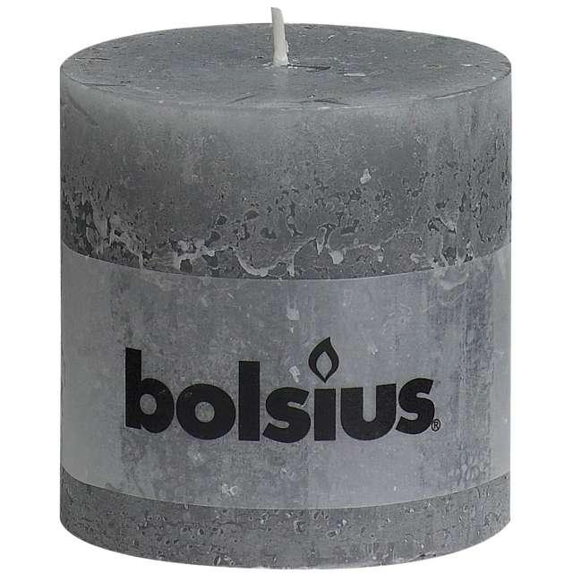 "Świeca pieńkowa ""Rustic"", szara jasna, Bolsius, 100/100 mm"