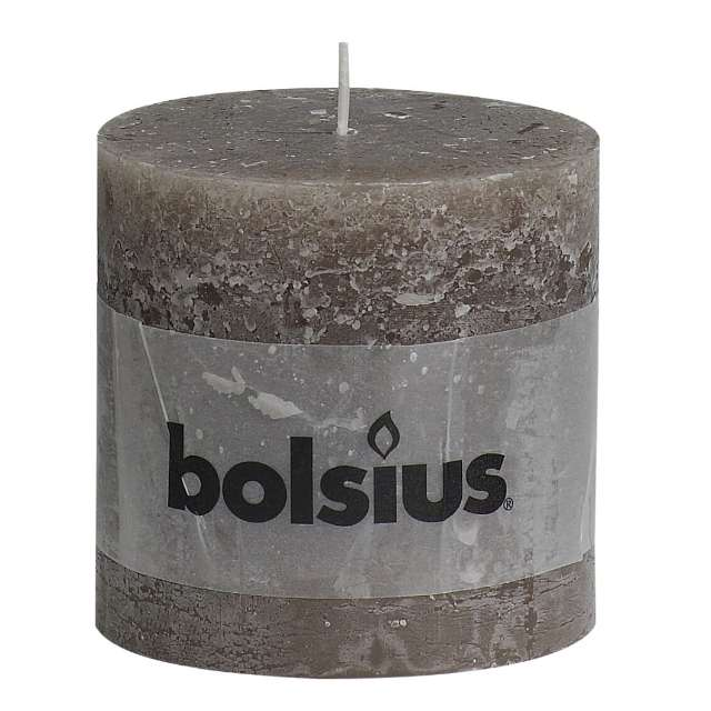 "Świeca pieńkowa ""Rustic"", taupe, Bolsius, 100/100 mm"