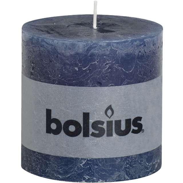 "Świeca pieńkowa ""Rustic"", niebieski ciemny, Bolsius, 100/100 mm"