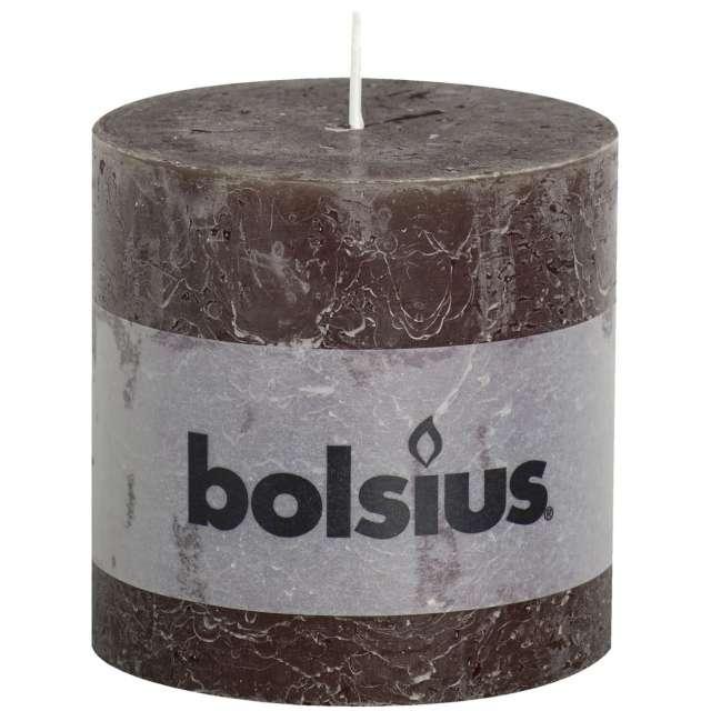 """Świeca pieńkowa """"Rustic"""", brązowa, Bolsius, 100/100 mm"""