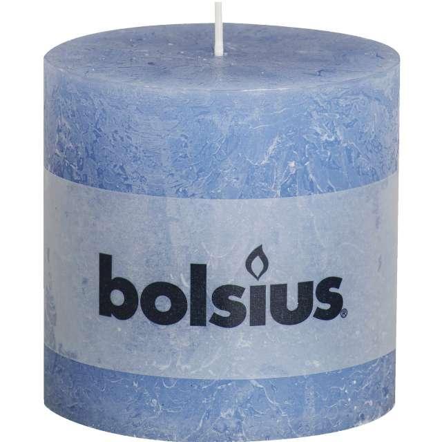 """Świeca pieńkowa """"Rustic"""", niebieski jeansowy, Bolsius, 100/100 mm"""