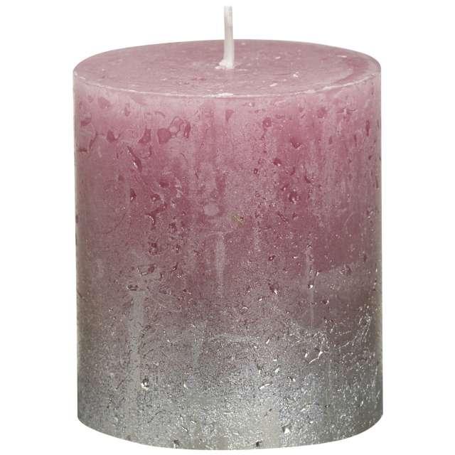 "Świeca pieńkowa ""Rustic Ombre"", różowo srebrna, Bolsius, 80/68 mm"