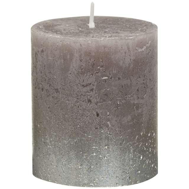 "Świeca pieńkowa ""Rustic Ombre"", srebrne taupe, Bolsius, 80/68 mm"