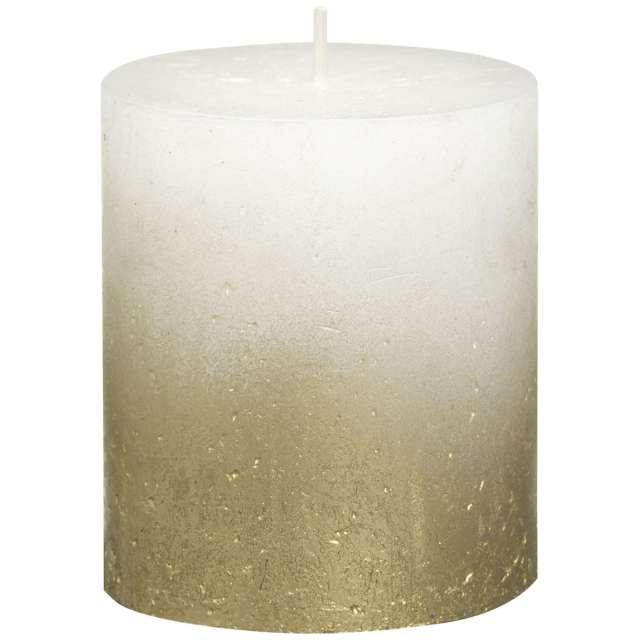 """Świeca pieńkowa """"Rustic Ombre"""", złoto biała, Bolsius, 80/68 mm"""