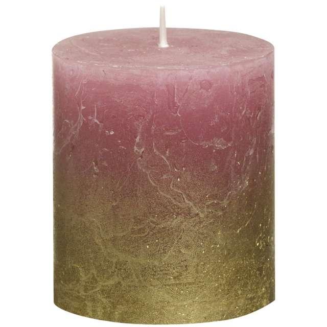 """Świeca pieńkowa """"Rustic Ombre"""", złoto różowa, Bolsius, 80/68 mm"""