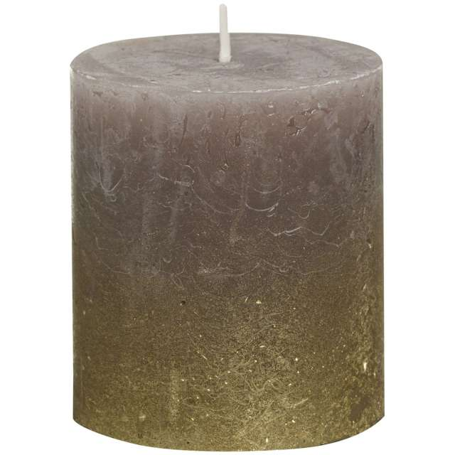 "Świeca pieńkowa ""Rustic Ombre"", taupe złoto, Bolsius, 80/68 mm"