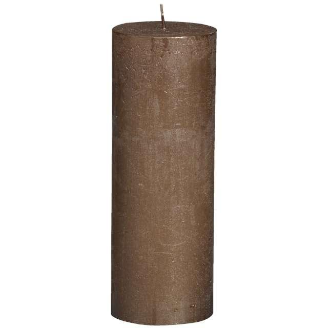 """Świeca pieńkowa """"Rustic Metallic"""", brązowa, Bolsius, 190/68 mm"""