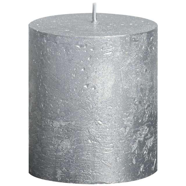 """Świeca pieńkowa """"Rustic Metallic"""", srebrna, Bolsius, 80/68 mm"""