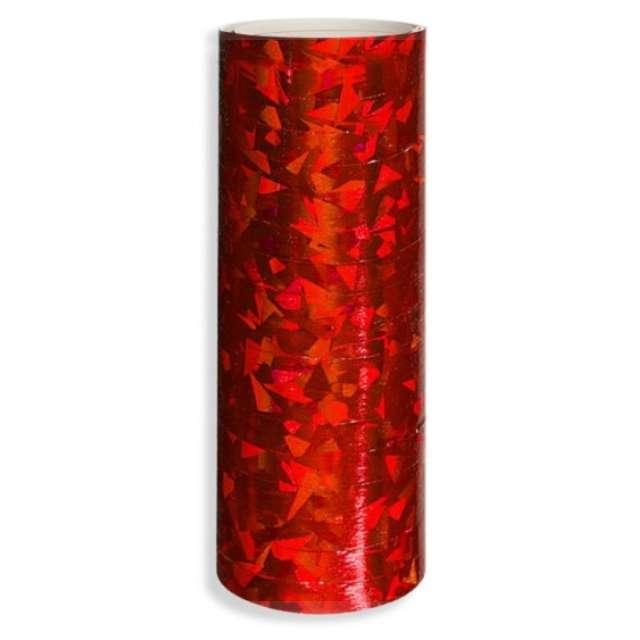 """Serpentyna """"Holograficzna"""", czerwona, DekoracjePolska, 19 rolek"""
