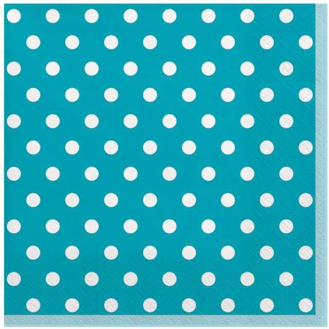 """Serwetki """"Kropmi duże"""", niebieskie, MAKI, 33 cm, 20 szt"""