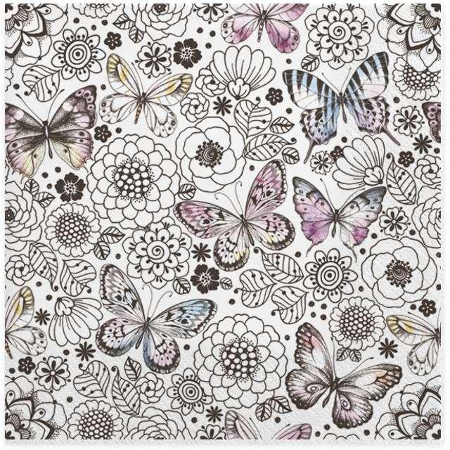 """Serwetki """"Motyle pośród kolorowych kwiatów"""", MAKI, 33 cm, 20 szt"""