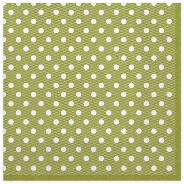"""Serwetki """"Kropki małe"""", zielone, MAKI, 33 cm, 20 szt"""