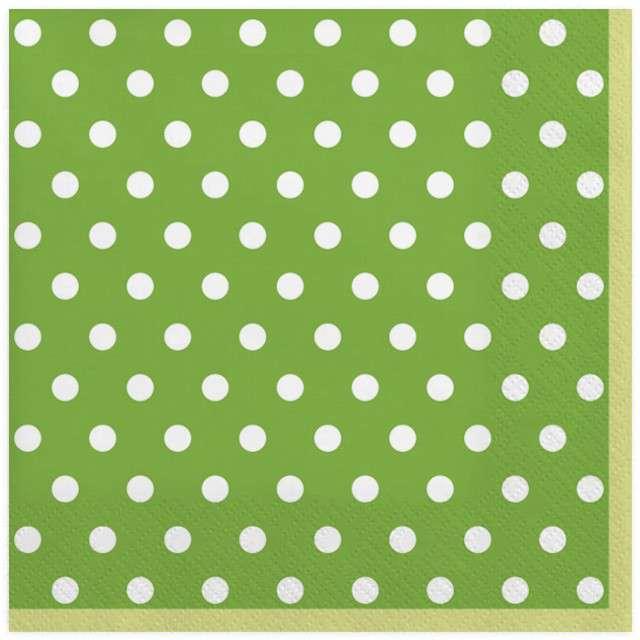 """Serwetki """"Kropki duże"""", zielone, MAKI, 33 cm, 20 szt"""