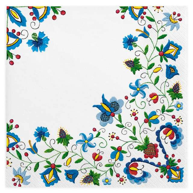 """Serwetki """"Ludowe - kaszubski folk na bieli"""", MAKI, 33 cm, 20 szt"""