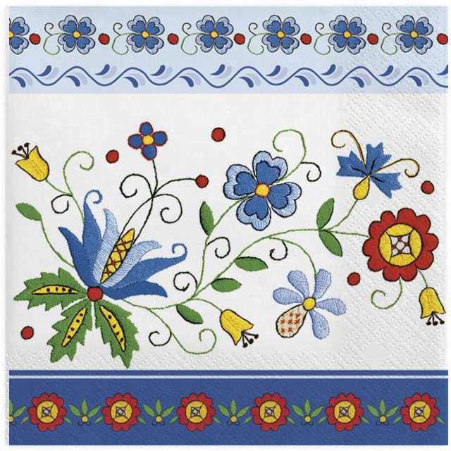 """Serwetki """"Ludowe - kaszubski folk z niebieską ramką"""", MAKI, 33 cm, 20 szt"""