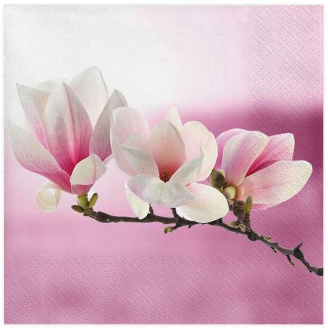 """Serwetki """"Gałązka magnolii"""", różowa, MAKI, 33 cm, 20 szt"""