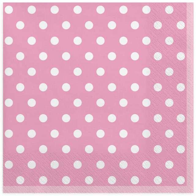 """Serwetki """"Kropki duże"""", różowe, MAKI, 33 cm, 20 szt"""