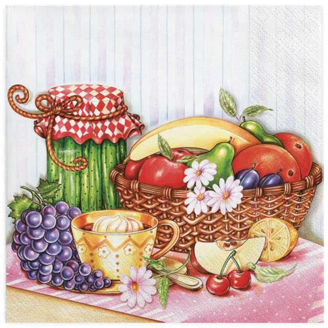 """Serwetki """"Kosz owoców z ogórkami"""", MAKI, 33 cm, 20 szt"""