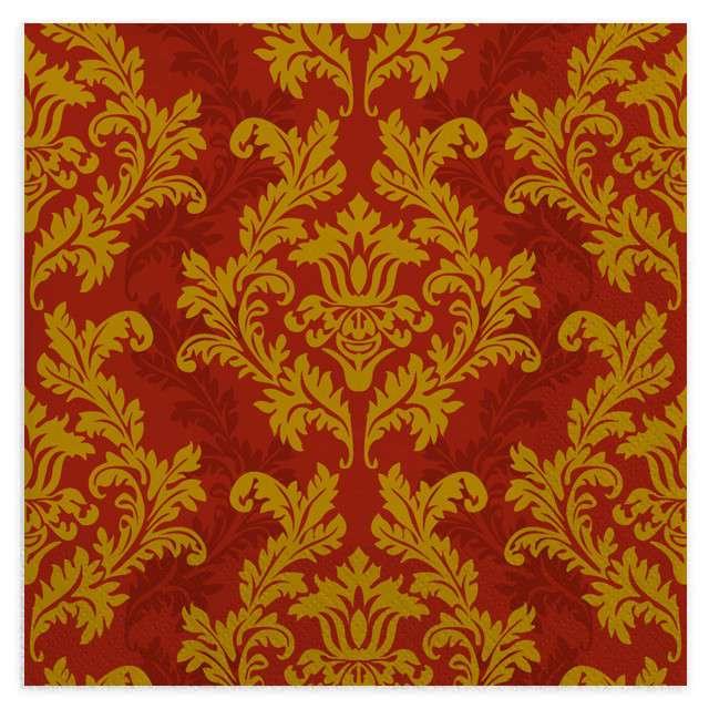 """Serwetki """"Tapeta"""", złoto-czerwona, MAKI, 33 cm, 20 szt"""