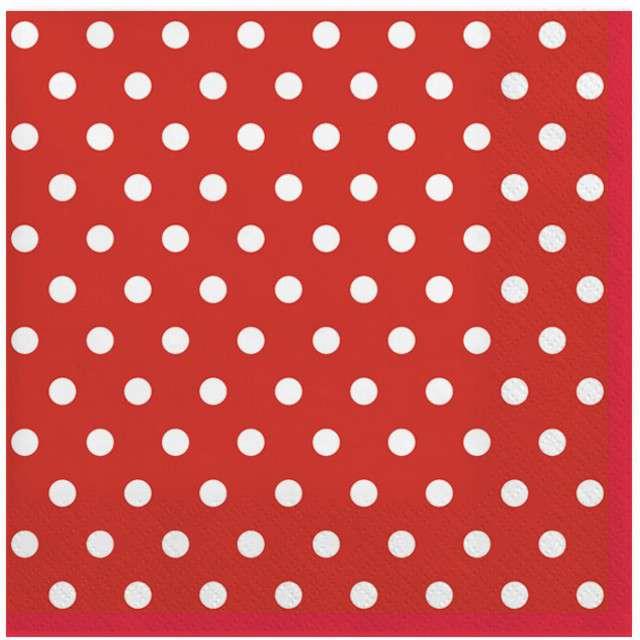 """Serwetki """"Kropki duże"""", czerwone, MAKI, 33 cm, 20 szt"""