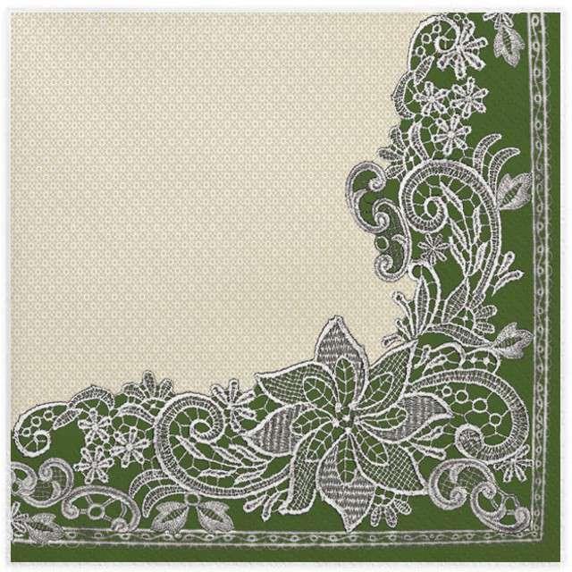 """Serwetki """"Koronkowa ramka"""", zielone, MAKI, 33 cm, 20 szt"""