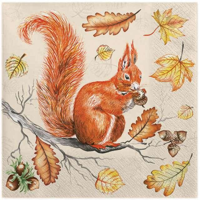 """Serwetki """"Wiewiórka na gałęzi"""", MAKI, 33 cm, 20 szt"""