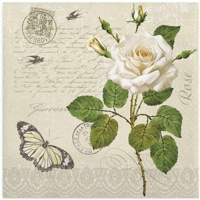 """Serwetki """"Biała róża z motylkiem"""", MAKI, 33 cm, 20 szt"""