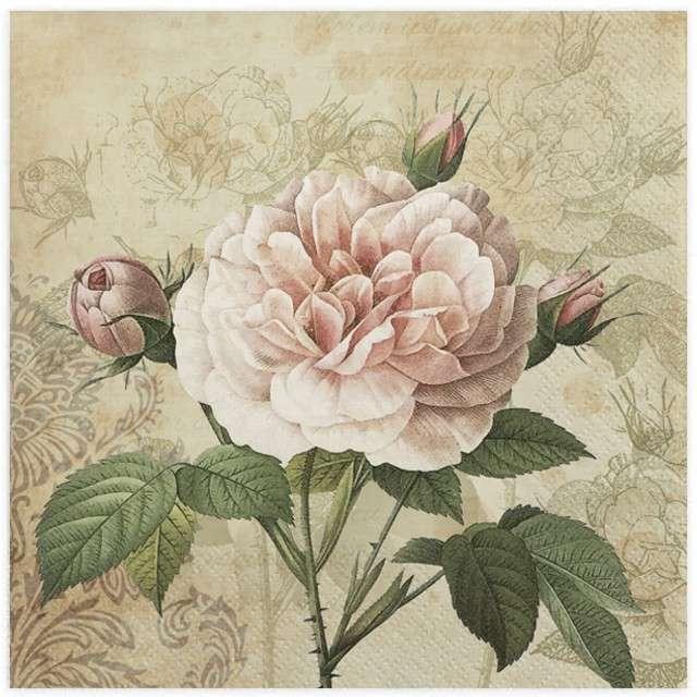 """Serwetki """"Biała róża vintage"""", MAKI, 33 cm, 20 szt"""