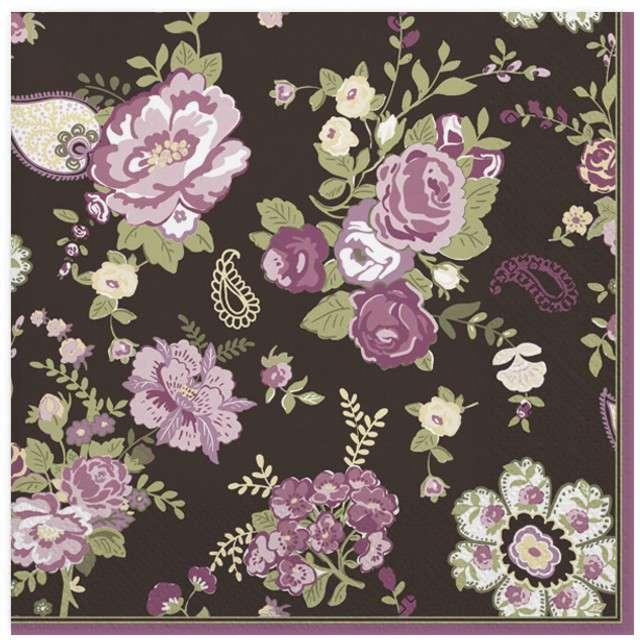 "Serwetki ""Różane dywan"", czarne, MAKI, 33 cm, 20 szt"