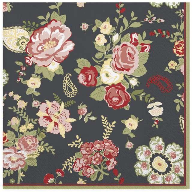 """Serwetki """"Różane dywan"""", grafitowe, MAKI, 33 cm, 20 szt"""