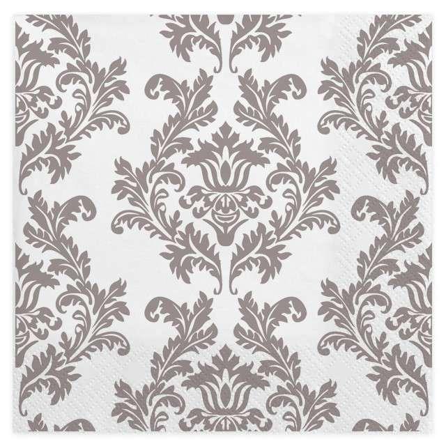 "Serwetki ""Tapeta"", biało-srebrne, MAKI, 33 cm, 20 szt"