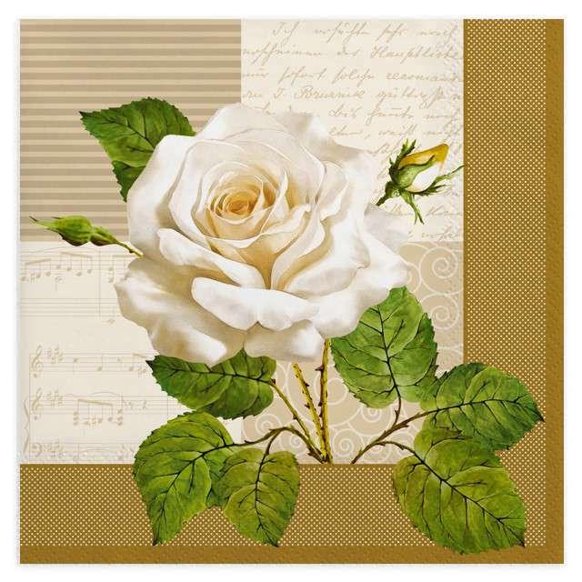 """Serwetki """"Duża, biała róża"""", MAKI, 33 cm, 20 szt"""