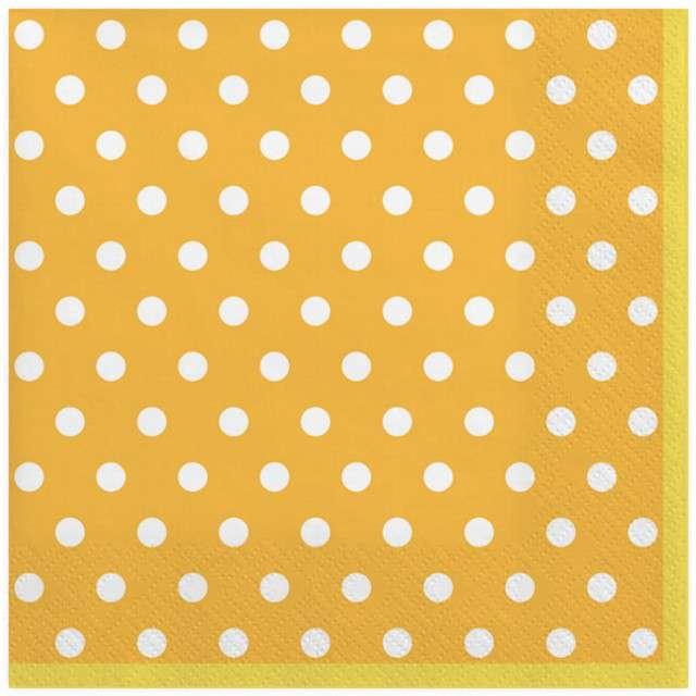 "Serwetki ""Kropki duże"", żółte, MAKI, 33 cm, 20 szt"
